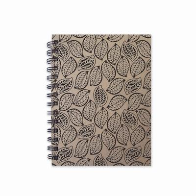 quaderno in canapa- foglie- carta canapa-