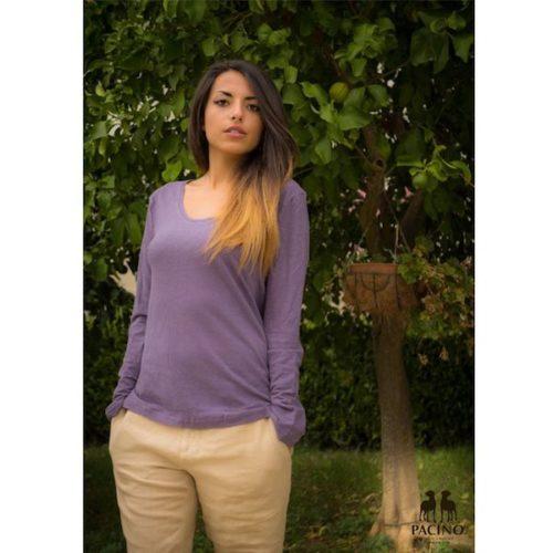 Maglia-a-manica-lunga-con-girocollo-in-jersey-leggero-Donna-PACINO viola