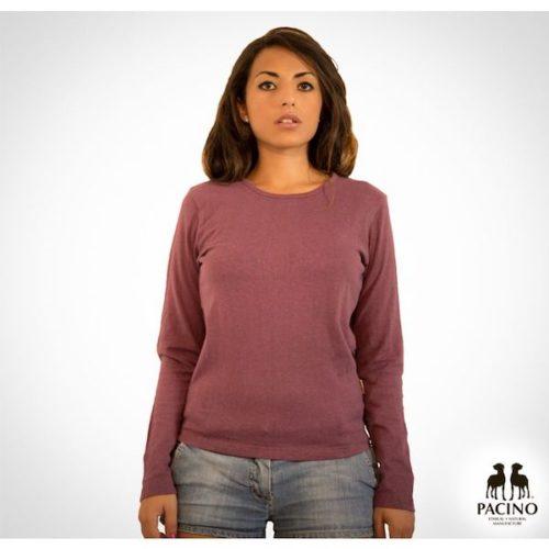 Maglia-a-manica-lunga-con-girocollo-in-jersey-leggero-Donna-PACINO. vinaccia